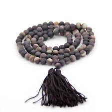Natural Stone Gemstone Tibet Buddhist 108 Prayer Beads Mala Necklace