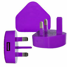 Purple 3 PIN USB UK MAINS CHARGER ADAPTER PLUG For SAMSUNG IPHONE iPAD AIR IPOD