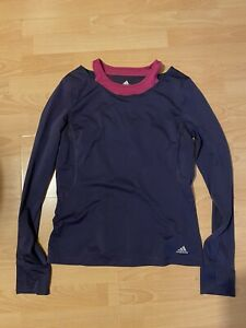 Adidas Blue Top with Pink Details Size UK 14
