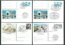 Stationery An65 4 Postcards Sc Germany 1981-89 Philately Aviation Below face
