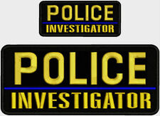 POLICE INVESTIGATOR BLUE LINE EMB PATCH 4X10 AND 2X5 HOOK ON BACK BLK/GOLD