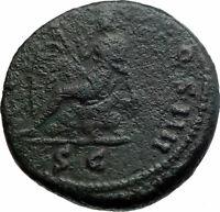 ANTONINUS PIUS Ancient Roman Coin 154AD Rome Britain VICTORY vs BRITANNIA i80415