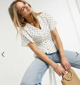 Women`s Ex Warehouse Polka Dot Blouse Shirt Top Size 6 8 10 12 14 16 18 - NEW