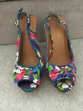 Primark Tropical Floral Slingback Blue Heels Size 5 Peep Toe Summer High NEW