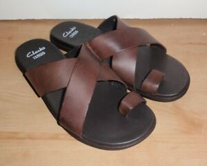 BNIB Clarks mens VALOR SHADE brown leather distressed sandals