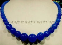 Beautiful Natural 6-14mm Blue Sapphire Round Gemstone Necklace 18'' AAA