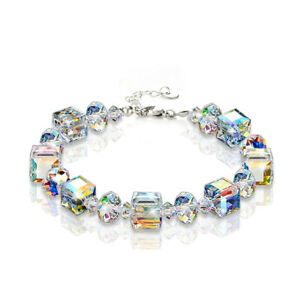 Women Girls Crystal Sparkling Charm Jewelry Stainless Steel Bracelet Bangle