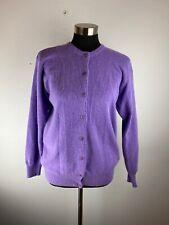 Plaza Sweaters Womens Sweater M Medium Purple Cardigan Wool Angora Blend