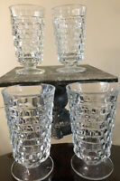 Set of 4 INDIANA GLASS COLONY WHITEHALL Clear FOOTED ICED TEA TUMBLER,USA