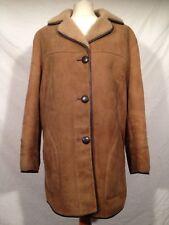Warm Brown Genuine Sheepskin Jacket Coat Womens Size UK 16 EUR 42 Button Up