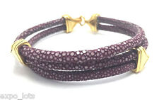 Genuine PURPLE Stingray Leather Bracelet Gold Plated *21cm Luxury USA SELLER