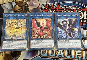 Yu-Gi-Oh 3x Rare Knightmare Unicorn, Phoenix, Gryphon 1st Edition GEIM (NM)