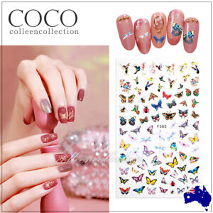 New 3D Nail Decor Decal Stickers Nail Art Accessories AU STOCK Design Butterfly