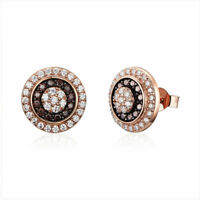 2019 New 925 Sterling Silver Young Mature Gold Plated CZ Stud Earrings For Women