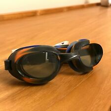Black Speedo Goggles with Tinted Lenses and Orange/Blue Tie Dye Detail