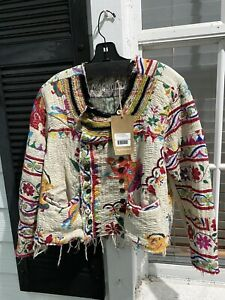 Magnolia Pearl Collector OOAK Antique Hand Embroidered Lennon Jacket, New w/Tag