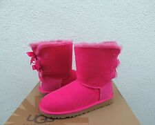 UGG CERISE PINK BAILEY BOW SHEEPSKIN BOOTS, YOUTH 3, FITS WOMEN US 5/ EUR 36 NEW