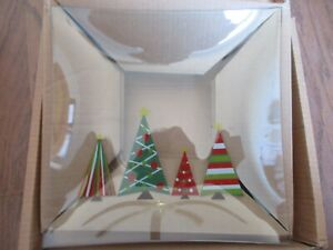 "Pampered Chef 11 1/2"" Square Christmas Tree Holiday Serving Plate 2807 NIB"