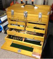 Tool Box Chest - 8 Drawer Hard Wood Toolbox Cabinet Storage Mechanic FREE SHIP