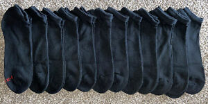 HANES Cotton POLYESTER Socks BLACK Ankle 12 Pair ATHLETIC Work NWOT New LARGE!