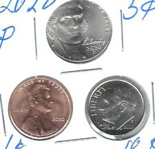 2020 Three Philadelphia Brilliant Uncirculated Cent, Nickel & Dime Coins!