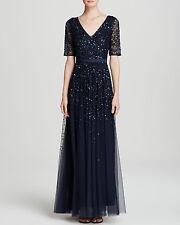 Adrianna Papell Midnight Blue Beaded Mesh V-neck Short Sleeve Gown NWT Sz 8 $370