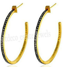 Look 925 Silver Hoops Earring 2.95cts Rose Cut Diamond Antique Victorian
