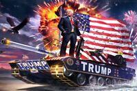 Funny Pro Donald Trump Pro America NEW SIZE Stickers TRUMP 2020 Tank & Eagle USA