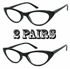 2 Pair Combo READERS Women Vintage Lightweight Cat Eye Style READING GLASSES