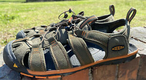 KEEN CNX Sandals Mens 10 Olive Green Orange Slip On Activewear Outdoor Shoes