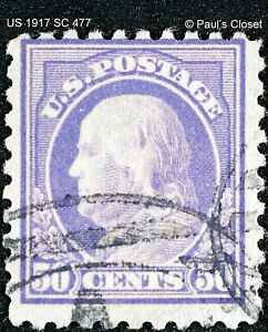 US 50¢ FRANKLIN 1917 LIGHT VIOLET P10 SC 477  UNG  FINE-VERY FINE SEE PHOTOS