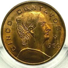 MEXICO BRASS- 1960 Mo- 5 Centavos- MS64 PCGS - POPULATION 1 ONLY - RAREST !