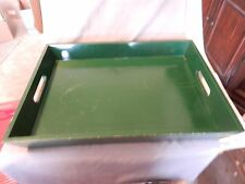 Green Gloss Varnished Wooden Serving Tray or Bedroom Tray (M)