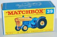 Matchbox Lesney No  39 Ford Tractor  empty Repro Box style F