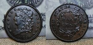 1832 Classic Head Half Cent 1/2c About Uncirculated
