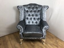 Steel Grey Crushed Velvet Queen Anne Wing Chair with silver studs (wide)