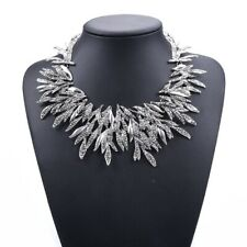 Women's Large Silver Collar Bib Statement Fashion Necklace