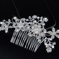 Wedding Bridal Jewellery Rhinestone Crystal Flower Pearls Silver Hair Comb Clips