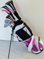 Ladies Left Hand Complete Golf Set Driver Wood Hybrid Irons Putter Bag Pink