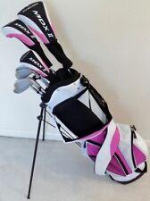 Ladies Left Hand Complete Golf Set Driver Wood Hybrid Irons Putter Bag Pink