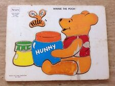 1970s VINTAGE SEARS WOODEN PUZZLE -WINNIE THE POOH & HUNNY POT WOOD TRAY DISNEY