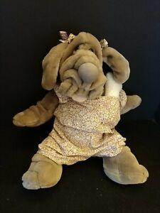 Vintage Ganz Wrinkles Dog Hand Puppet Original Bone, Collar, Clothes, Bows 1981