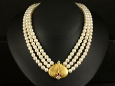 Otto Hahn   3-reihiges Perlen Brillant Rubin Collier    750/- Gelbgold