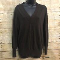 Banana Republic Size M Medium Sweater Brown V Neck Extra Fine Merino Wool L/S