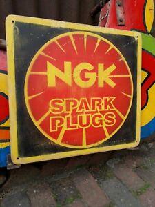 NGK SPARK PLUGS GARAGE SIGN ESSO OIL MANCAVE PRATT'S GOODWOOD CHAMPION PETROL AA