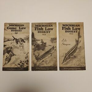 (3) Vintage Michigan Fish law digests 49, 50, 52 Dept. of Conservation Fishing