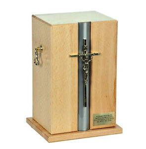 Beautiful Adult cremation casket urn for ashes Catholic Wooden urn with Cross