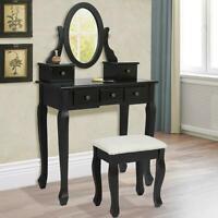 Vanity Makeup Dressing Table Set W/Stool 5 Jewelry Drawer&Mirror Wood Desk Black