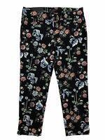 ANN TAYLOR Devin Fit Black Floral Pants Women's Size 8
