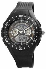 Men's Quartz Watch Black Analogue Digital Metal Silicone Alarm W-200871000015500